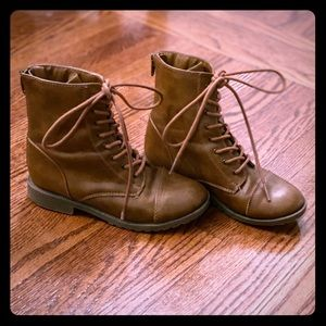 Girls Brown Lace Up Boots